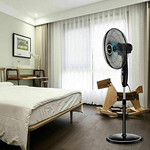Heavens Tvcz Blade Oscillation Pedestal Fan Control Timer 3 Speed Remote Stand Floor Adjustable 16'' Great Choice for Home Or Office
