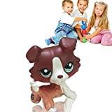 Vinplay Littlest Pet Shop LPS Tan Brown Black Gray Short Hair Cat Dog Toy Rare for Kids Gifts (Dog 1)