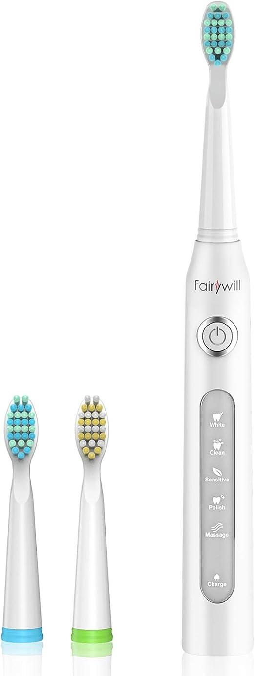 Cepillo de dientes eléctrico fairywill recargable con sonico tecnología, cepillo dental electrico impermeable fw-507 blanco.: Amazon.es: Salud y cuidado personal