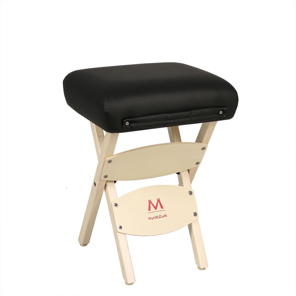 Minerva Portable Wooden Massage Stool with Carry Handle – Salon Spa Makeup