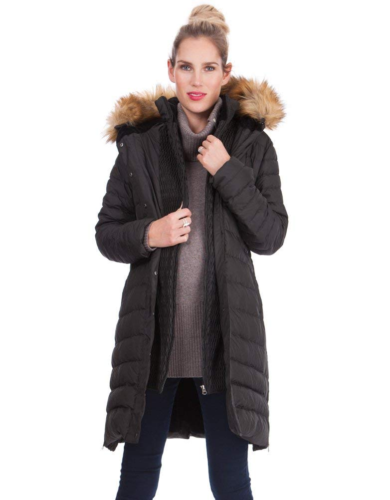 Seraphine Womens Casual Down Maternity Coat in Black 8 by Seraphine