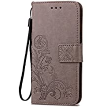 Fashion Floral Clover Embossed PU Leather Magnetic Flip Cover Card Holders & Hand Strap Wallet Purse Cover Case For Mobile Cell Phone (Motorola Droid Maxx 2/Moto X Play/X3 Lux)