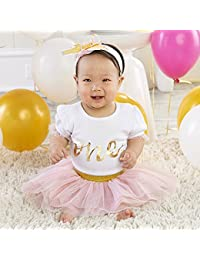 My First Birthday 3-Piece Outfit, 12-18 months White/pink