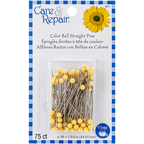 Dritz Color Ball Straight Quilting Pins, 75-Pack, - Quilting Yellow Pins