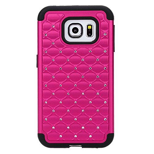 Galaxy S6 Edge Case, 3Cworld Hybrid Gel Rhinestone Bling Armor Defender Case for Samsung Galaxy S6 Edge -Retail Packaging - 3 Patterns (Hot Pink-Black)
