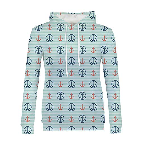 Anchor Stylish Hoodies,Summer Holiday Adventure Horizontal Striped Backdrop with Icons Bon Voyage Decorative for Girls,XS