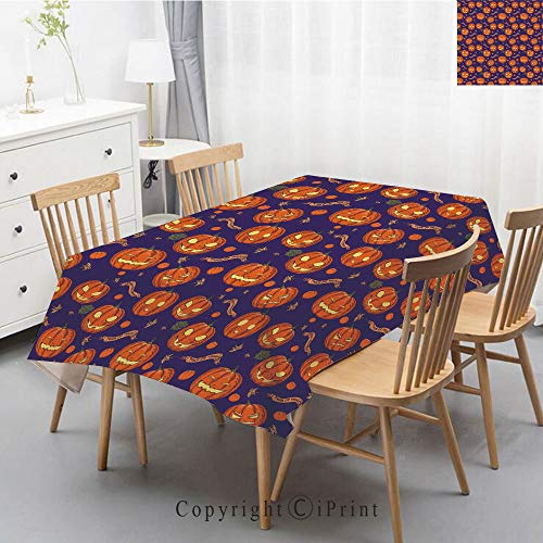 Pure Linen Plain Tablecloth Athena,Natural Rectangular Table Cloth for Indoor and Outdoor Use,Natural Tablecloth,47x63 Inch,Halloween,Pumpkins Pattern Different Face Expressions Happy Angry Scary -