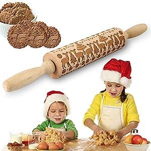 Mattarello Natale In Legno Rolling Pin per biscotti e pizza Utensile da Cucina in Rilievo di Legno Inciso a Forma di mattarello Inciso di Natale, Goffratura Mattarello, Mattarello di Pane di Pasta 6 spesavip