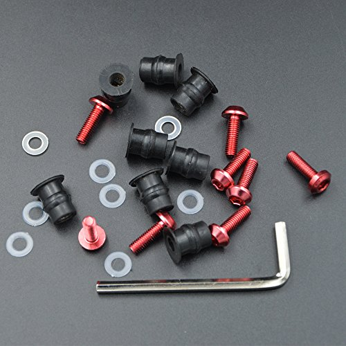 ZXMOTO Motorcycle Red Windscreen Wellnut Bolt Fairing Kit for Yamaha Kawasaki Honda Suzuki Ducati Triumph Daytona All Models and Years