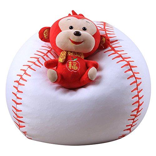 Digood Stuffed Animal Storage Bean Bag Chair, Kids Adults Baseball Style Stuff and Sit Toy Bag Floor Lounger (18 Inch)