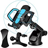 Car Phone Holder 3 in 1, Xultrashine Car Phone Mount with Air Vent Holder, Sticky Anti-Slip GEL Pads and Long Arm Windshield Mobile Phone Cradle for iPhone ,Galaxy,Google Nexus, LG, Huawei and More