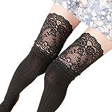 #10: Voberry Women Socks Straight Tube Stockings Lace Trim Leg Warmer Sock