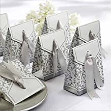 House Life 100 Pcs Wedding Favor Favor Sweet Cake Gift Candy Boxes Bags Anniversary Party Silver