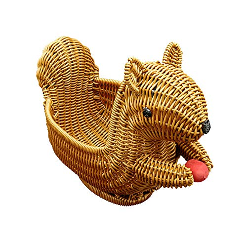 Originality Imitation Rattan Woven Basket Squirrel Shape Bread Fruit Display Snacks Candy Plate (small)