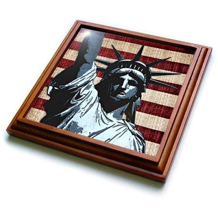 American Flag Tile (3dRose trv_21925_1 Liberty Flag Patriotic Statue of Liberty with American Flag and Liberty Text Trivet with Ceramic Tile, 8 x 8