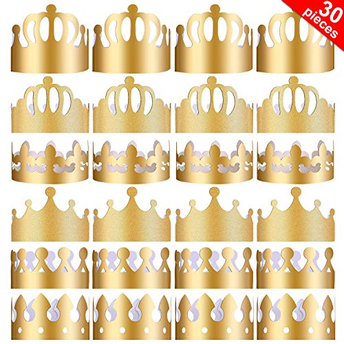 (Yaomiao 30 Pieces Paper Party Crowns Gold Crown Hats King Crown for Birthday Party Photo Props)