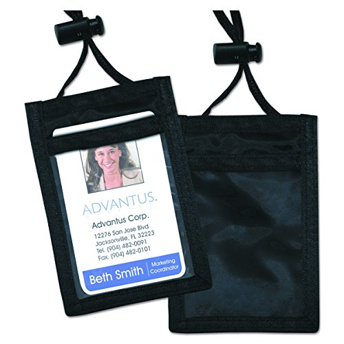 ADVANTUS ID Badge Holder/Convention Pouch with 48 Inch Cord, Vertical, 2.25 x 3.5