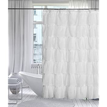 best HOMESPON Extra Thicken Premium Quality Shower Curtain Polyester Fabric Mildew Mold Resistant Waterproof, Non-Toxic No Odor Eco-Friendly-Bone Beige with White Stripes (Ruffle 72x72, Beige)