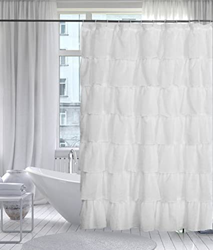 Image Unavailable Not Available For Color GoodGram White Ruffled Fabric Shower Curtain