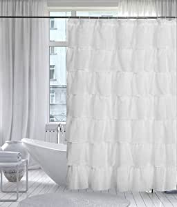 "Lorraine Home Fashions 08383-SC-00001 Gypsy Shower Curtain, White, 70"" x 72"""