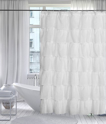 Lorraine Home Fashions 08383-SC-00001 Gypsy Shower Curtain, White, 70' x 72'