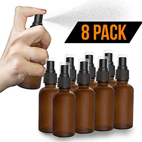 8 Pack Amber Spray Bottles 2oz - [THE PERFECT SPRAY] - Empty Glass Bottles For Cleaning Solutions - Best Refillable MIST SPRAY Pack Perfume Atomizer [2oz] ()