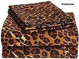 Dreams Linen 300-Thread-Count Egyptian Cotton 4pcs Sheet Set (+20 Inch) Pocket Deph California King Size Leopard Print