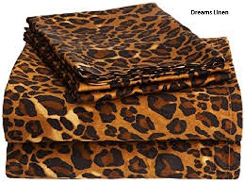 Dreams Linen 300-Thread-Count Egyptian Cotton 4pcs Sheet Set (+20 Inch) Pocket Deph California King Size Leopard Print by Dreams Linen