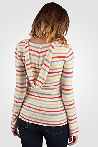 JENNIE LIU Women's 100% Cashmere Long Sleeve V Neck Contemporary Cashmere Hoodie (M, Lemon Stripe) by JENNIE LIU (Image #3)