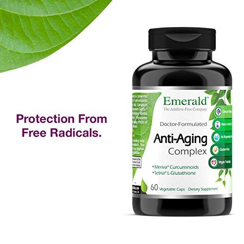 51Ue%2BoMEcXL - Anti-Aging Complex - with L-Glutathione, Resveratrol, CoQ10, R-Alpha Lipoic Acid, Meriva, Pomegranate, & More - Emerald Laboratories (Rainforest) - 60 Vegetable Capsules