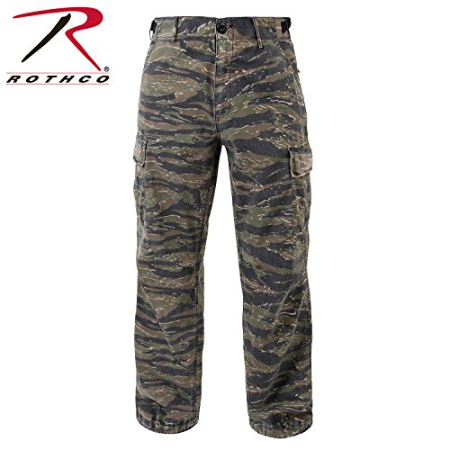 Ultra Force Vintage Paratrooper Fatigues, Cargo Pants (Medium, Tiger Stripe Camo)