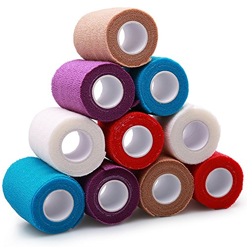 Self Adherent Bandage Wrap Tape by LotFancy, Cohesive Non-Woven, Assorted Colors, 10 Rolls, FDA Approved (4Inches x 5Yards)