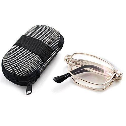 Main Zippered Pocket (Pixnor Anti-fatigue Folding Handy Reading Glasses Presbyopic Glasses +2.0 Pocket Zippered Nylon Box Case)