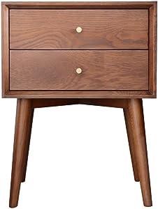 Teerwere Bedside Table cabinets 2-Drawer Bedside Table Solid Wood Storage Cabinet Modern Bedroom Furniture Nightstand Retro Bedside Table (Color : Walnut Color, Size : 45x35x60cm)