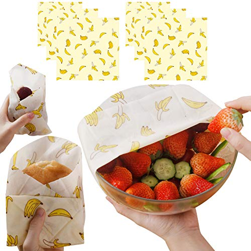 Skoloo Beeswax Food Wrap 6 Pack, Reusable Food Wrap for Storage, Bees Wax Paper Wrap for Cheese Wraps - 2 Small,2 Medium,2 Large, Banana Beeswax Wrap