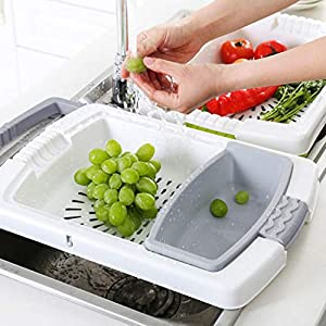 Best Epic Trends 51Ue-MDIEzL._SS300_ Collapsible Basin Colander Cutting Board 3-in-1 Household Fruit Vegetable Container Drain Basket