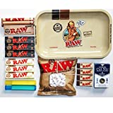 RAW SMALL BIKINI GIRL ROLLING TRAY BUNDLE / KIT / SET - 110mm RAW ROLLER - RAW Organic & Black King Size Slim Rolling Papers - Cut Nic Cigarette Filter - Doob Tube - RAW Cotton Filters – RAW scoop card – RAW filter tips