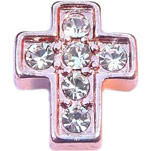 Rose Goldtone Cross Floating Locket Charm