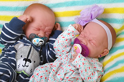 Reborn Baby Crying Twins Boy and Girl Preemie with Beautiful Accessories Anatomically Correct Washable Berenguer 14