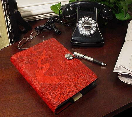 Red Twisted Tree/Cloud Garden Embossed Leather Writing Journal, 6 x 9-inch + Refillable Hardbound Insert Book