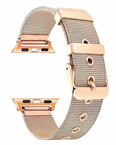 Gold Mesh Buckle (Apple Watch Band 38mm Milanese Loop with Buckle Stainless Steel Mesh iWatch Band With Classic Buckle Replacement Strap for Apple Watch Series 3/2/1 Nike Edition Sport - 38mm Retro Gold)