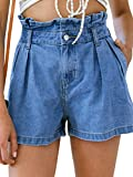 Simplee Apparel Women's High Waisted Denim Shorts Summer Casual Ruffles Shorts