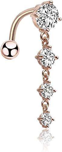 Cubic Zirconia Pearl Flower Dangle Navel Ring