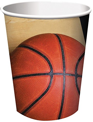 Creative Converting 8 Count Sports Fanatic Basketball Hot/Cold Cups, 9 oz, - Basketball Cups Party