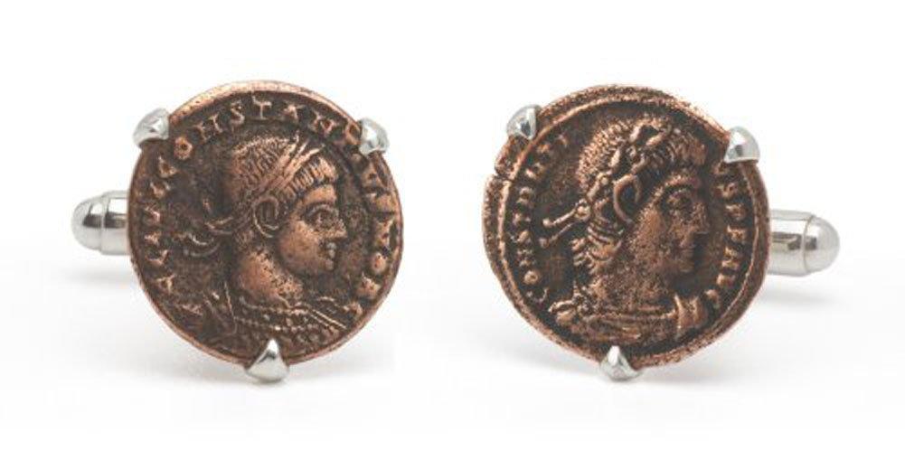 Tokens & Icons Bronze Roman Coin Cufflinks (55RC)