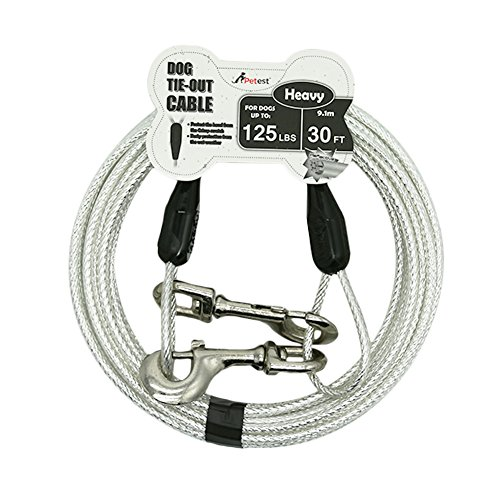 Petest 30ft Reflective Tie-Out Cable for Heavy Dogs Up to 125 Pounds by Petest