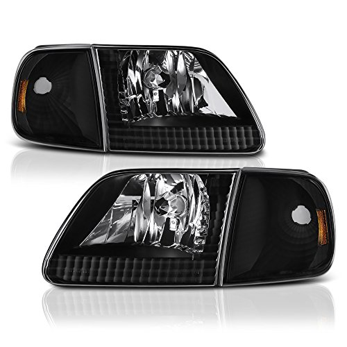 VIPMotoZ 1997-2003 Ford F-150 Headlights & Turn Signal Cornering Lamps - Matte Black Housing, Driver and Passenger Side