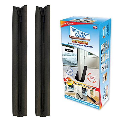Twin Draft Guard Extreme in Black - Set of 2 - Energy Saving Under Door Draft Stopper by Twin Draft Guard