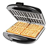 Chefman RJ03-4S-CM 4 Slice Ceramic Waffle Maker, Black