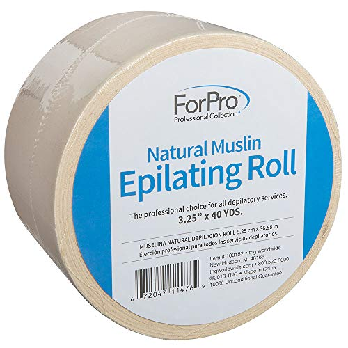 ForPro Natural Muslin Epilating Roll, Tear-Resistant, for Hair Removal, 3.25